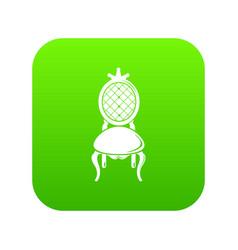 Throne icon green vector