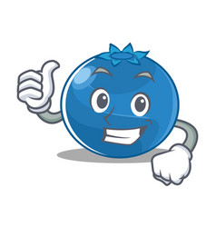 Thumbs up blueberry character cartoon style vector