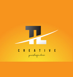 tl t l letter modern logo design with yellow vector image