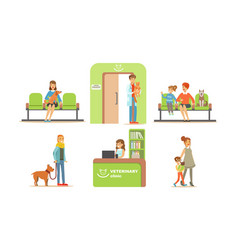 vet clinic set people bringing their dogs and vector image