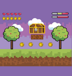 Videogame scene with pixelated coffer with trees vector