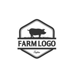 vintage pig logo vector image