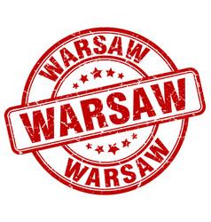 Warsaw red grunge round vintage rubber stamp vector