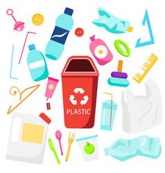 Waste sorting plastic garbage bottles straws vector