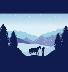 Wild west snowscape scene with cowboy and horse vector