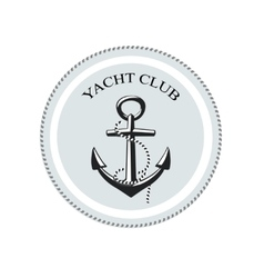 Yacht club logo anchor on a white vector