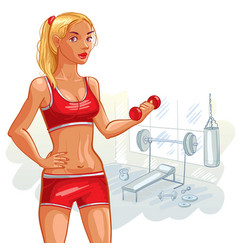 young girl in the gym vector image