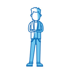 Young man with cross arm wear vest blue line vector