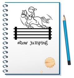 A notebook with a sketch of a boy riding a horse vector image vector image