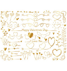 assorted graphic elements for valentines day vector image vector image