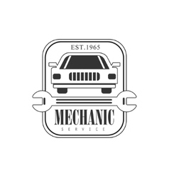 Car Repair Workshop Black And White Label Design vector image vector image