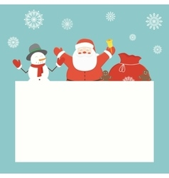 Christmas card with Santa Claus and friends vector image
