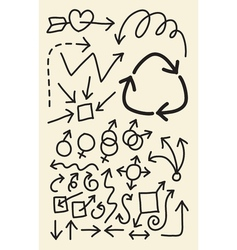 Doodle Arrow Hand Drawing Symbols vector image vector image