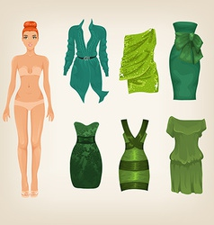 dress up paper doll with an assortment of green vector image