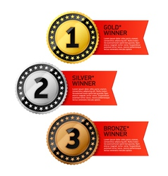 Gold Silver and Bronze winners medals vector image vector image