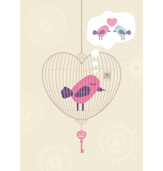 Love cage with lonely bird vector image vector image