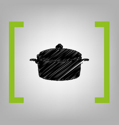 Pan sign black scribble icon in citron vector