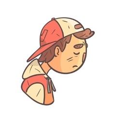 Sad Boy In Cap And College Jacket Hand Drawn Emoji vector image vector image