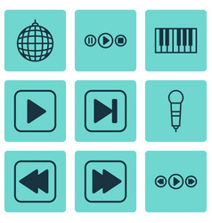 set of 9 music icons includes song ui dance club vector image vector image