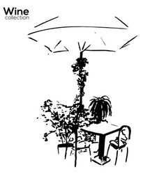 trees collection ink cafe scene with plants vector image vector image
