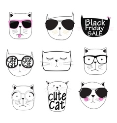 Cute Handdrawn Cat Set vector image vector image