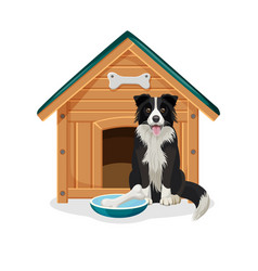 dog sits beside wooden doghouse and bowl with bone vector image vector image