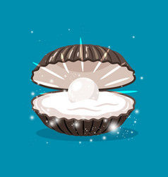 glitter shell with pearl inside vector image vector image