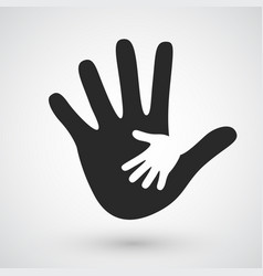 helping hands icon care adoption pregnancy or vector image