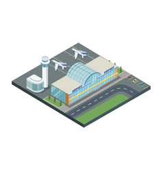 Isometric building of airport with planes vector
