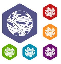 Round planet icons set hexagon vector