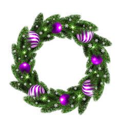 Christmas wreath with lilac balls vector