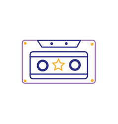 color line old cassette retro object stereo vector image