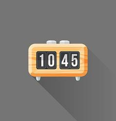 flat style wood retro flip clock icon vector image vector image