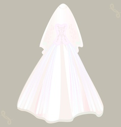wedding dress with veil vector image vector image