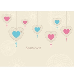 Background with love cages vector image