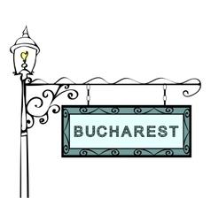 Bucharest retro pointer lamppost vector