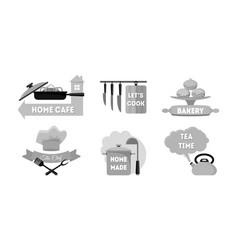 cartoon kitchen labels set vector image