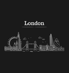 white linear london city skyline with famous vector image vector image