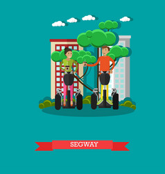 young couple riding segway vector image