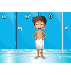 A boy in comfort room vector