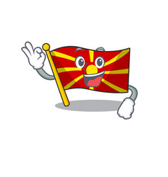 A picture flag macedonia making an okay gesture vector