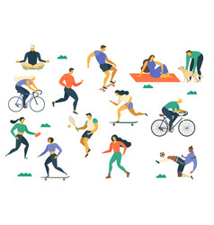Active young people healthy lifestyle roller vector