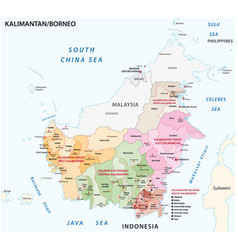 administrative map borneo kalimantan vector image