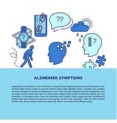 Alzheimer s symptoms poster template in line style vector