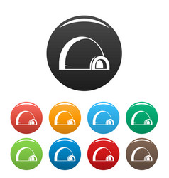 arctic igloo icons set color vector image
