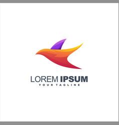 awesome gradient bird logo design vector image