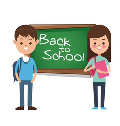 back to school girl boy pupil backpack books vector image vector image