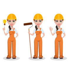 beautiful female builder in uniform vector image