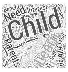 Benefits of homeschooling Word Cloud Concept vector