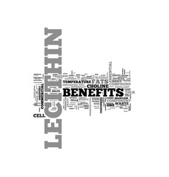 Benefits of lecithin text word cloud concept vector